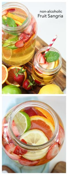 Drink Ideas| Summer is the perfect time to be enjoying an ice cold drink, like this Non-Alcoholic Fruit Sangria Drink Recipe!