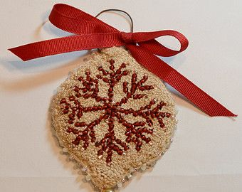 Primitive Punch Needle Red Heart Ornament by Gollywobbles on Etsy