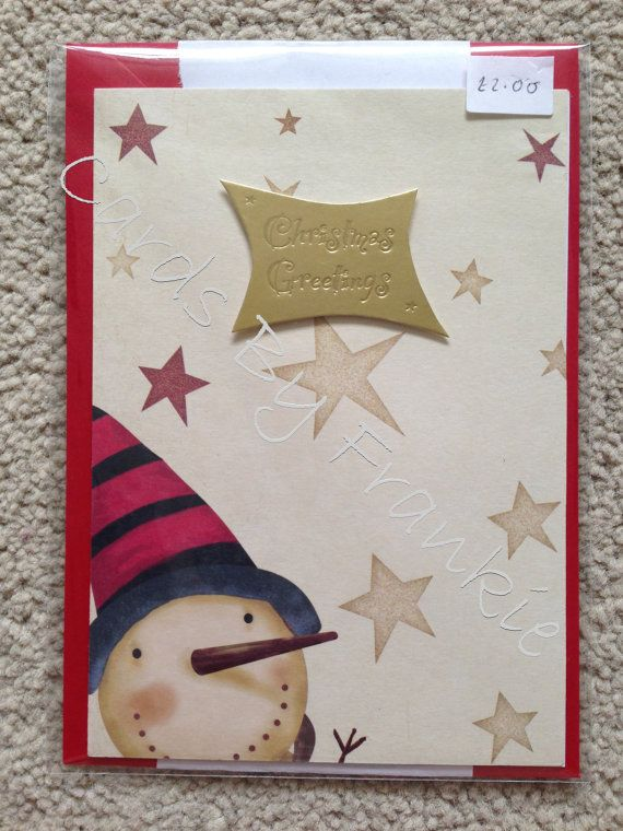Handmade Christmas Greetings Card with Snowman by CardsbyFrankie, £2.00