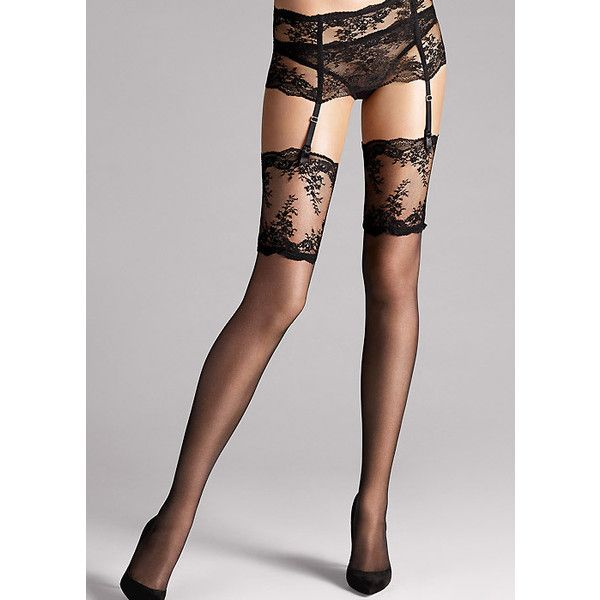 Wolford Filigra Lace Stockings ($56) ❤ liked on Polyvore featuring intimates, hosiery, tights, stocking, lacy stockings, lace hosiery, lace tights, wolford hosiery and wolford