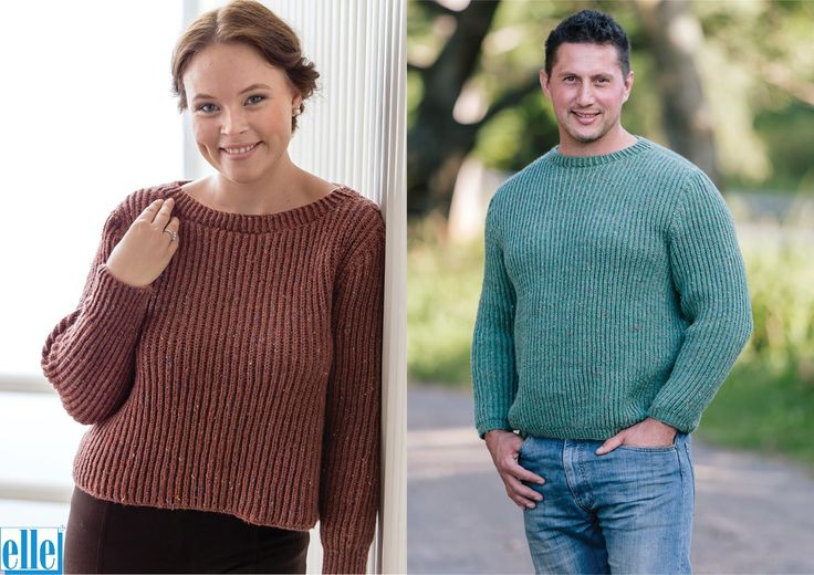 His & Hers Sweaters  Brand: Elle Count: Double Knit Yarn: Country Tweed Size From: 4 years Size To: 127 cm