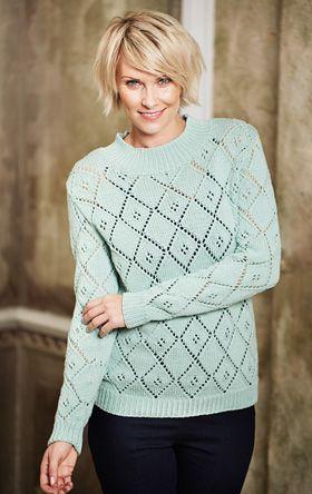 Strikkeopskrift, strikket bluse i fin pastelfarve, alt om håndarbejde