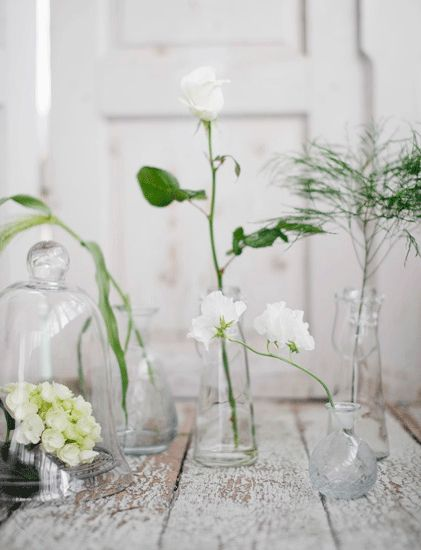 Use of vintage♥ lab beakers, cloches & medicine bottles adds warmth & charm to interior/exterior spaces..