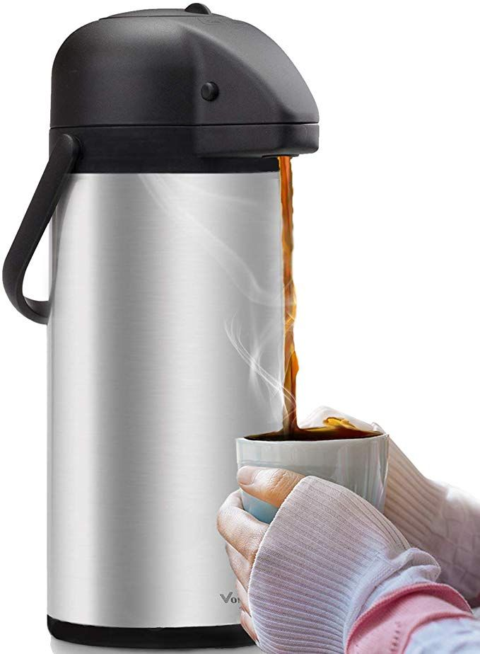 Airpot Coffee Carafe - Thermal Beverage Dispenser (102 oz.) By Vondior. Insulated Stainless Steel Coffee Thermos Urn For Hot/Cold Water, Pump Action Airpot, Party Chocolate Drink Review