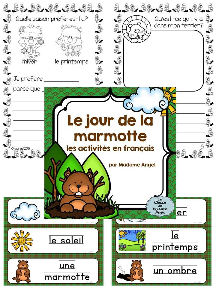 Jour de la marmotte: Fun Groundhog Day word wall cards and activity booklet in French! $