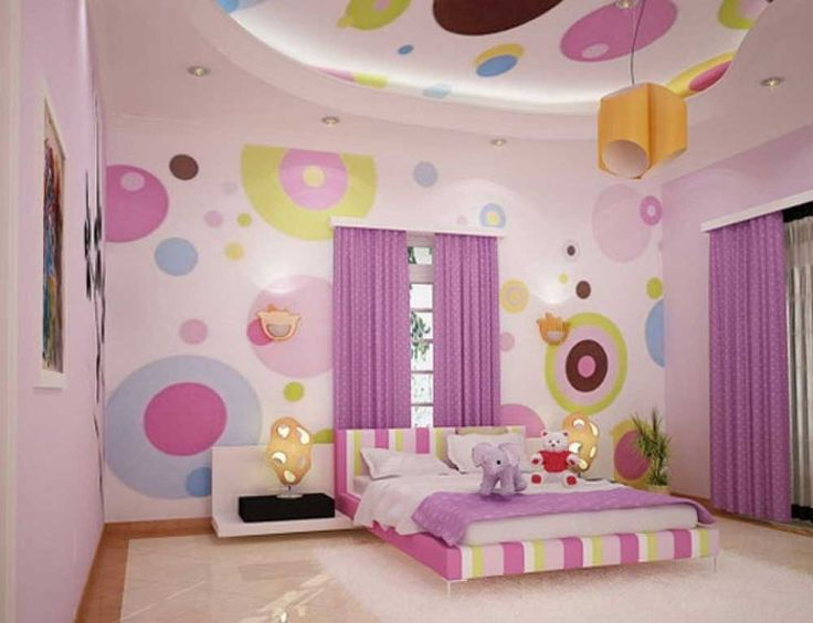 Simple Interior Design for The Bedroom For Girls with pink polka dots wallpaper and white furry rug also purple comforter in platform bed and black