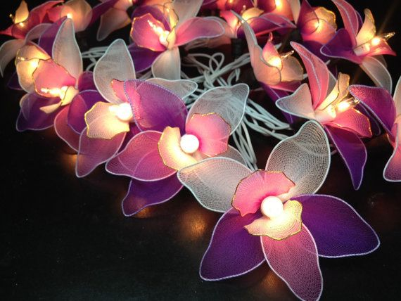 20 Pink-White-Purple Orchid Flower Fairy String Lights Hanging Wedding Gift  Party Patio Indoor Bedroom Fairy Lights Romanticl ights by