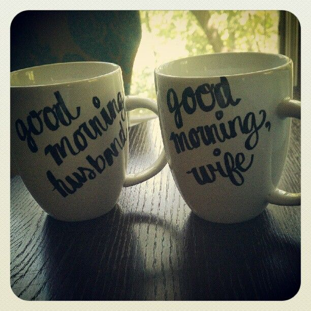 Simple white mugs with handwritten quotes, saying, special notes, or even just numbers. I love the simplicity.