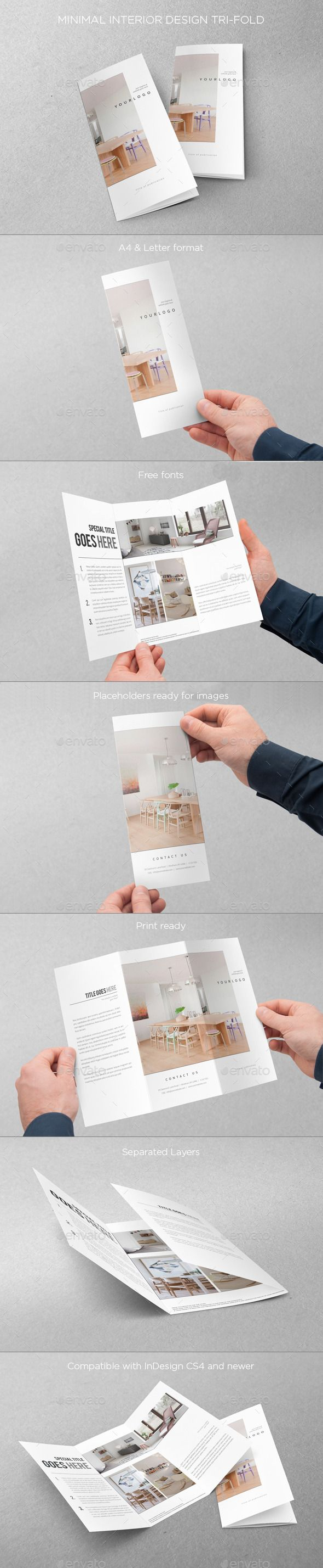 Minimal Interior Design Trifold - Brochures Print Templates