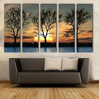 Stretched Canvas Art The Sunset Under The Shadows Of Decorative Painting Set of 5 – USD $ 109.99