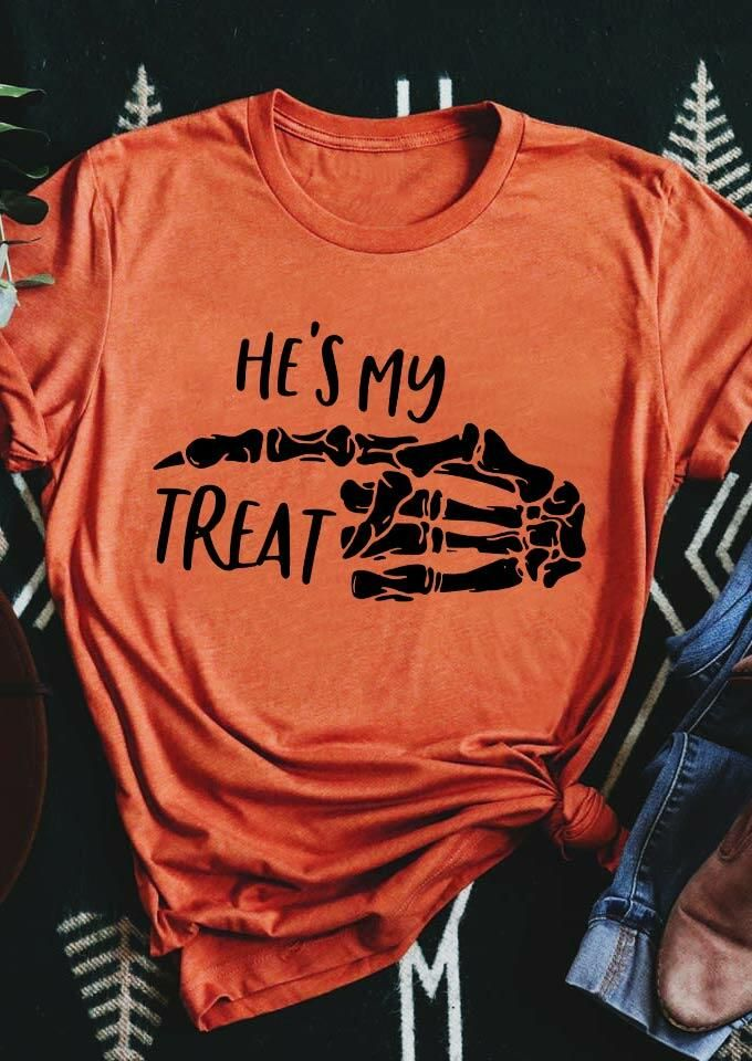 Halloween He S My Treat Skeleton T Shirt Tee Orange Bellelily In 2020 Cute Shirt Designs Personalized T Shirts Tee Shirts Not to mention brilliant beauty and. pinterest