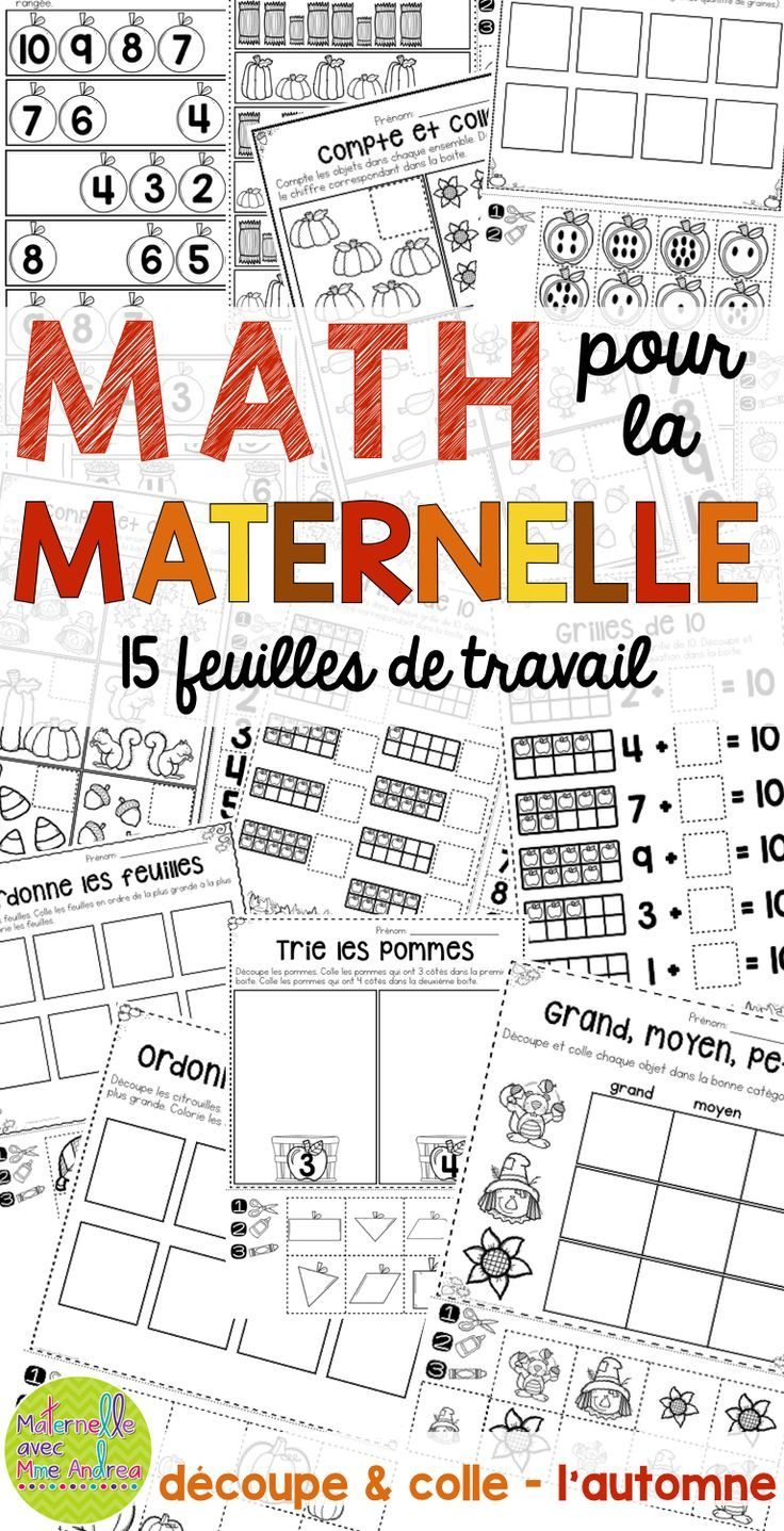 15 autumn-themed, cut-and-paste, no-prep math worksheets en français! Perfect for substitutes or to consolidate a lesson. Counting, patterning, number sense, sorting, etc.!