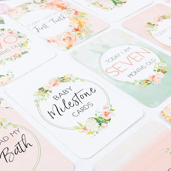 Floral Baby Milestone Cards