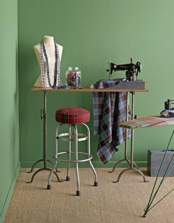 Jauntily patterned textiles and trims have the art of attention-getting all sewed up. Ribbons, from $25.30 per roll; tartanribbon.com. Brimfield vintage reupholstered barstool, $295; 773-271-3501. Worsted wool fabric, $46.95 per yard; thescottishweaver.com. Brimfield vintage wood ironing board, $245; 773-271-3501. (All shown with Design Workshop oak and steel table, $735; 910-293-7329 for stores; and flat latex wall paint in Garden Grove, $48.99 per gallon; sherwin-williams.com.)