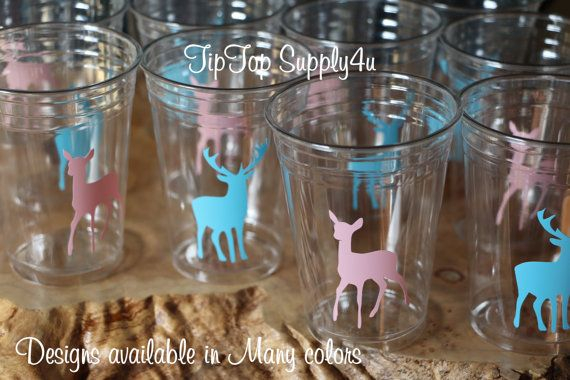 24 gender reveal Buck & Doe 10,12 or 16 oz. clear disposable cup. Baby Shower, sprinkle party, boy or girl, Hunter shower, Team blue. C-137