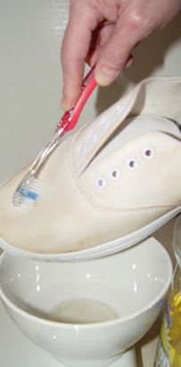 Wash sneakers with baking soda, detergent and a toothbrush to liven them up. | 25 Ingenious Clothing Hacks Everyone Should Know
