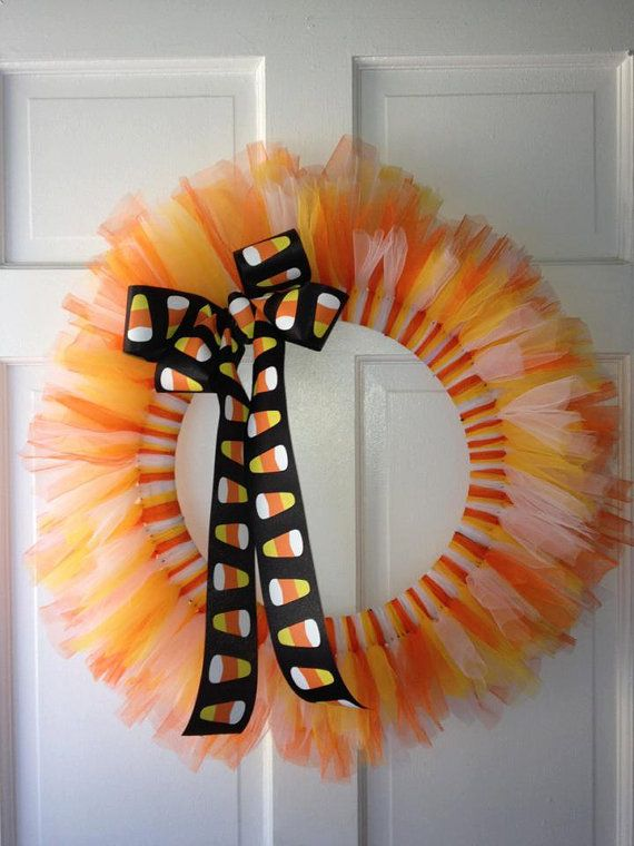 Candy Corn Wreath (Link leads to an Etsy item no longer available. I wonder, though, how easy this would be to make.)