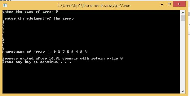 PROGRAMMING WITH C, C++ & JAVA: Given An Array A[], Write A C++ Progam That Segreg...