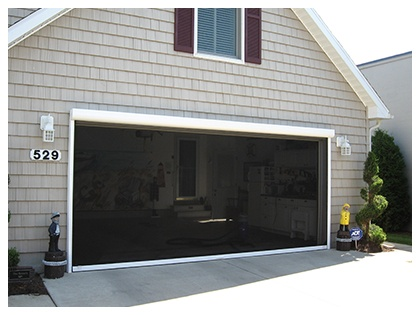 Garage door screen garage screens panorama retractable for Retractable double garage door screen
