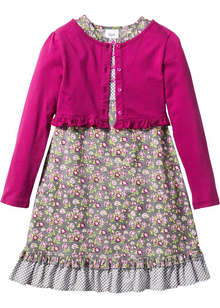 Kleid   Shirtjacke (2-tlg. Set) mattsilber/rosa/fuchsia geblümt - bpc bonprix collection jetzt im Online Shop von bonprix.de ab ? 18,99 bestellen. Schönes ...