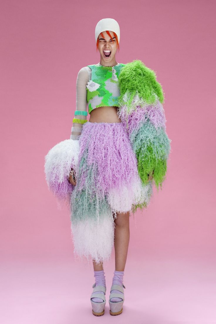 Central Saint Martins graduate Cassandra Verity's Spring/Summer 2013 collection. Manipulating elasticated and fluffy voluminous knit with intricate beading, the collection is reminiscent of water and movement.