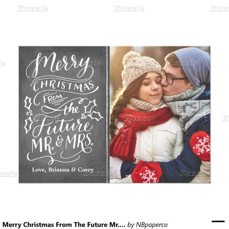 Merry Christmas From The Future Mr. and Mrs. Photo Card Hand Lettered Calligraphy Chalkboard Engagement Announcement