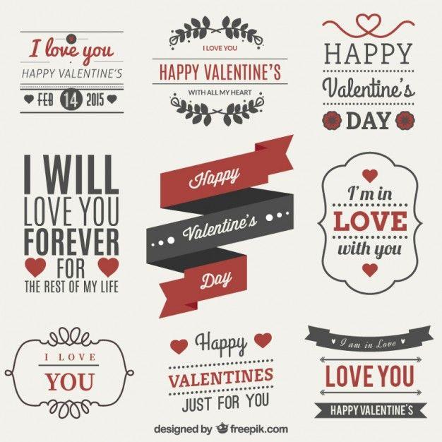 Vectores etiquetas San Valentín