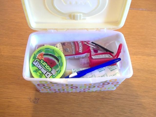"Car Emergency Kit: fits inside a ""wipes"" box"