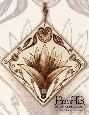 Pirografia su legno / Anna Bernasconi Art / ACANTO ED ALTRE ANTICHE ESSENZE (fiori di loto, papiro) / ispirazione storica -  artistica - floreale