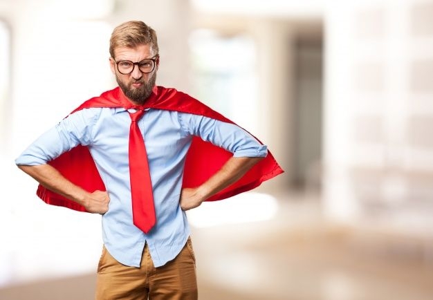 Almighty executive with red cape Free Photo