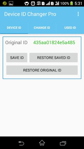 Device ID Changer Pro [ADIC] v3.2 Requirements: 3.0 and up Overview: You can easily change your device id or android id of your mobile by using this app.      Rooted device needed.   Ads free.   You can easily change your device id or android id of your mobile by using this app.   You...