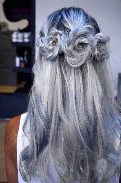 grey / pastel hair with twists
