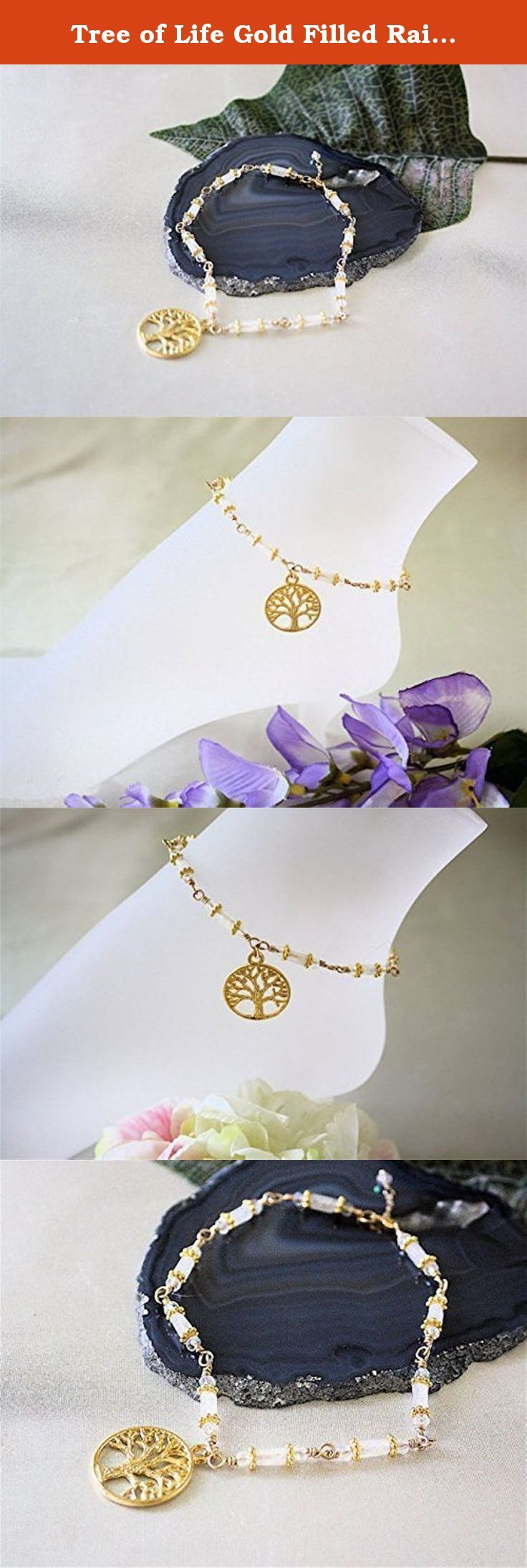 """Tree of Life Gold Filled Rainbow Moonstone Anklet. Gold Filled Tree of Life Charm Rainbow Moonstone wire wrapped Ankle Bracelet accented with 14k Gold Filled Daisy Bali Beads and finished with a GF Lobster clasp. Measures 9"""" and can be made to your perfect size. A great accessory for warm weather attire and sandals, You'll love the attention grabbing detail and beauty this sterling silver anklet will add to your legs. The June Gemstone Birthstone."""
