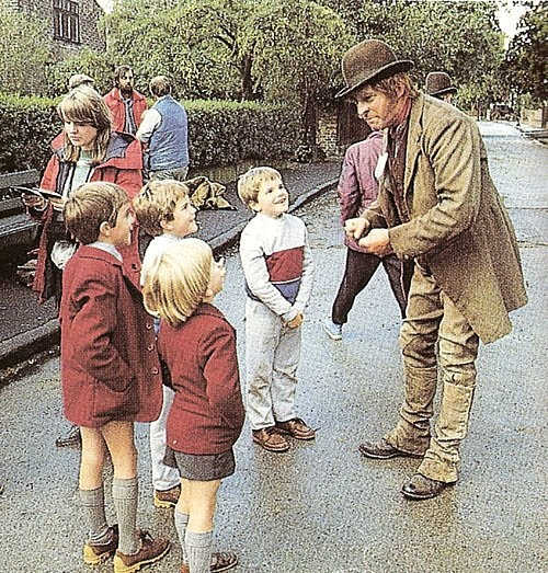 """The great Jeremy Brett in character on the set of Sherlock Holmes, """"A Scandal in Bohemia.""""  Such lucky kids."""