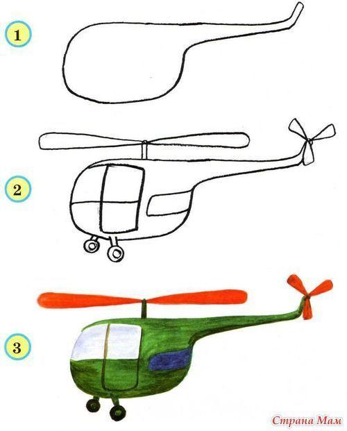 helikopter tekenen met kleuters, stap voor stap