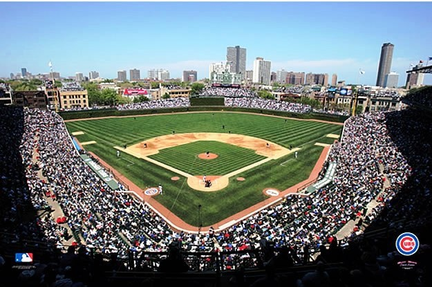 Chicago cubs wrigley field wall murals man cave for Baseball stadium mural wallpaper