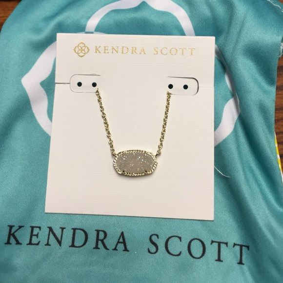 Kendra Scott Elisa Drusy necklace Kendra Scott Elisa Drusy necklace in white and gold. Includes duster bag, original box and 15% off coupon to any Kendra Scott Boutique. Kendra Scott Jewelry Necklaces