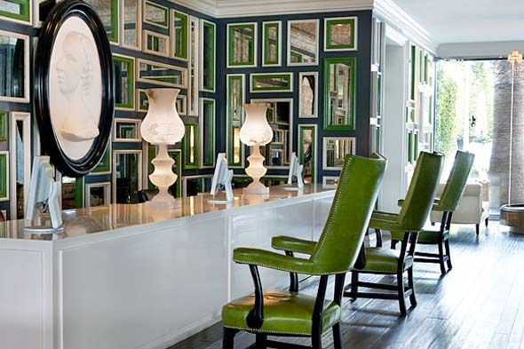 Small and Chic in Cville: Kelly Wearstler. Obsessed with the symmetry of the mirrors and the color palette.