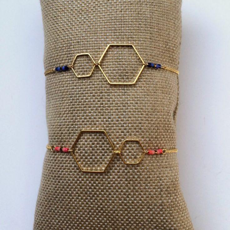 """Bracelet doré """"Hexagones"""" fin #tendance #graphique #chic #style"""