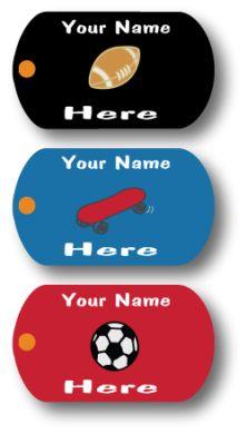 Custom Mini-Metal Tags - Sporty