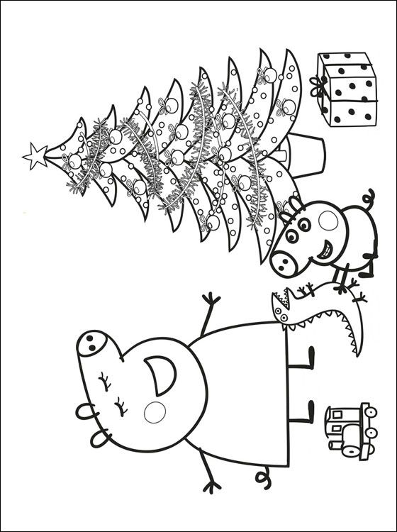 Pages coloring page of a peppa pig celebrating christmas