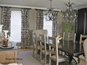 for a gray dining room and black and white drapes