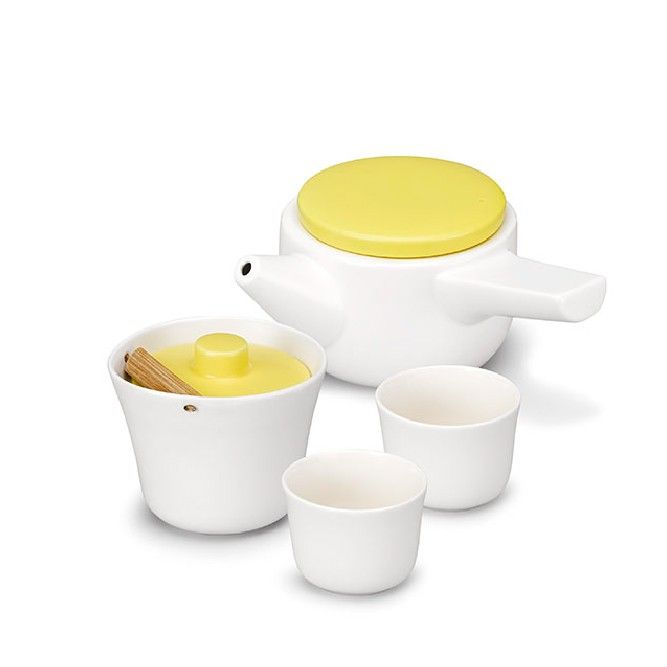 Evo Song Tea Set | White & Yellow | Tea Pots & Tea Cups | Tea Drop