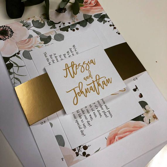 Alessia Floral Wedding Invitation Bundle Sample Matt Gold Belly Band Rsvp Card Wish Card And Names Label Floral Wedding Invitations Wedding Stationery Wedding Invitations