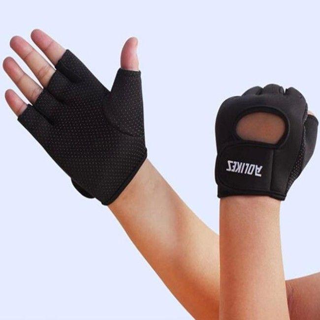 Black Fitness Training Half Finger Cycling Gloves For Men And Women