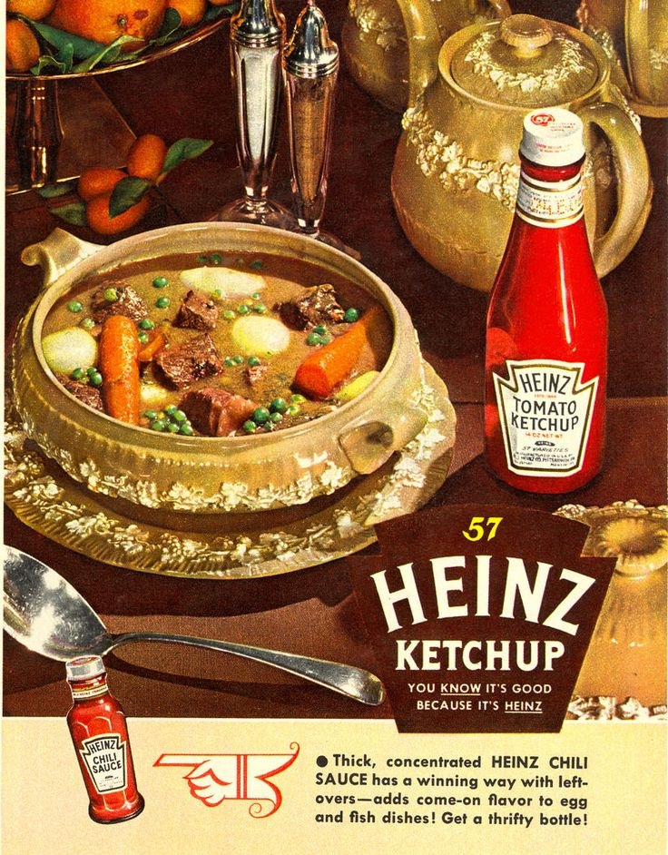 Heinz Ketchup ad, 1952. #vintage #1950s #ads