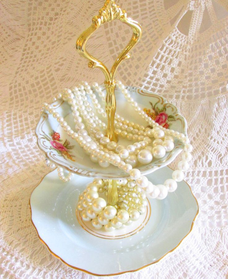 Pale Blue, White and Pink Rose Floral 2-Tiered Jewelry Stand with Vintage China Plates, Mini Sweets Stand & Dessert Party Pedestal Serving Display By High Tea for Alice by HighTeaForAlice on Etsy