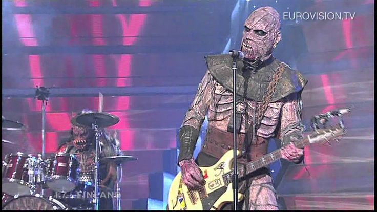 Lordi - Hard Rock Hallelujah (Finland) 2006 Eurovision Song Contest Winner - I love his flag top hat!