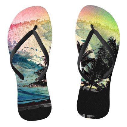 PixDezines Surfs Up Hawaiian Beach/Pink/Green Flip Flops - pink gifts style ideas cyo unique