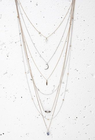 Layered Faux Stone Charm Necklace   Forever 21 - 1000154911